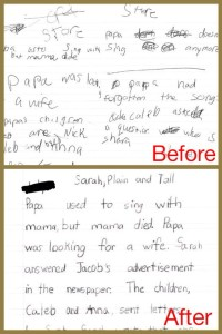 handwriting before and after