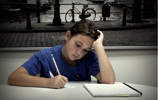 child frustrated with homework