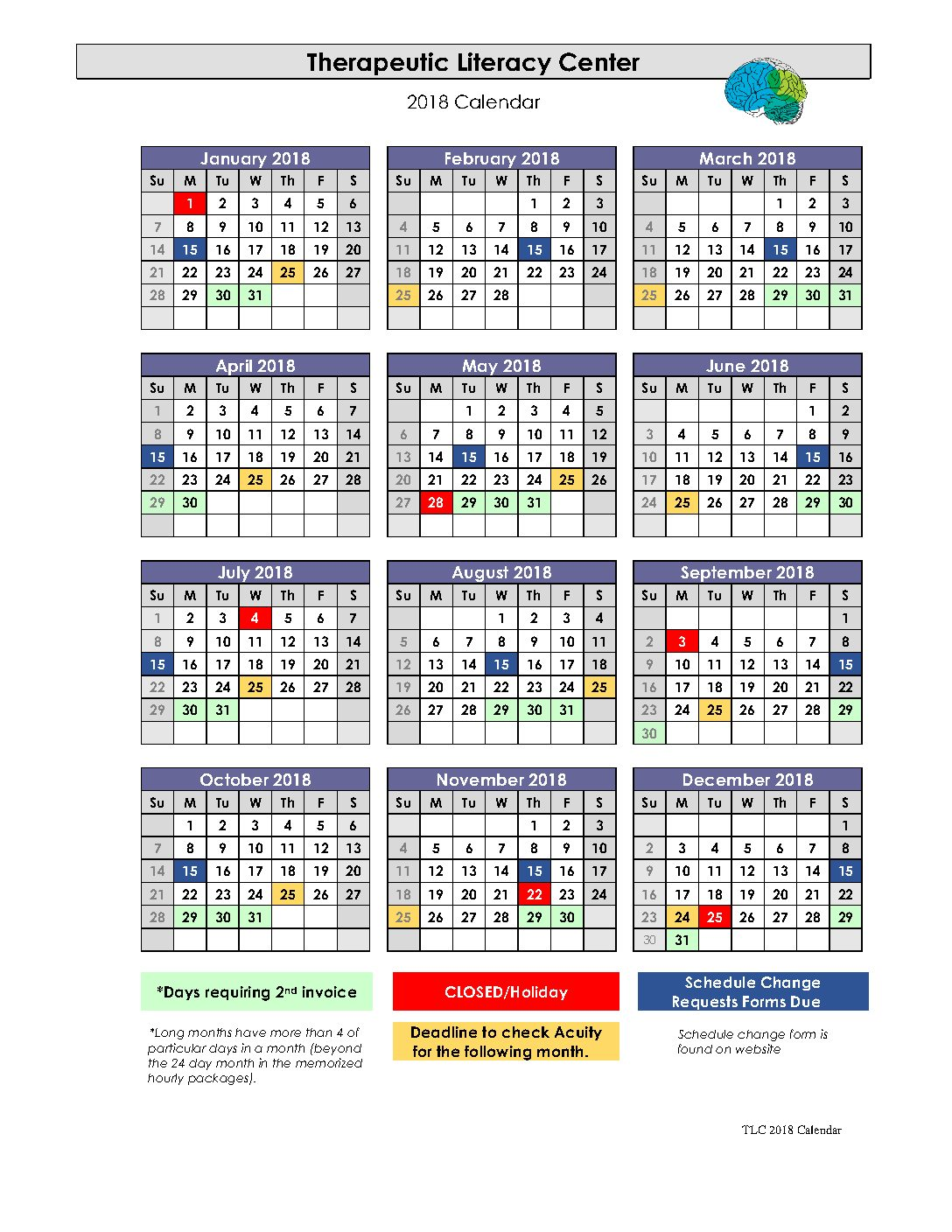 Therapeutic Literacy Center 2018 Calendar